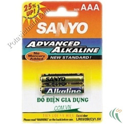 ?nh s? 52: Pin đũa AAA, Pin Kiềm Alkaline, Pin thông dụng, Pin 1.5V, Pin SANYO LR03/2BP (1 Vỉ/ 2 Viên pin) - Giá: 20.000