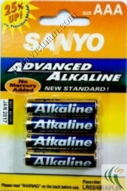 ?nh s? 56: Pin đũa AAA, Pin thông dụng, Pin Alkaline Kiềm, Pin 1.5V, Pin SANYO LR03/4BP (1 Vỉ/ 4 Viên pin) - Giá: 38.500