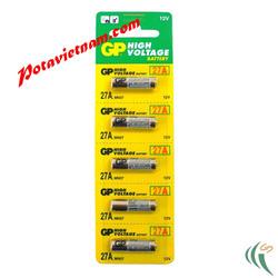 ?nh s? 75: Pin dạng kiểu loại hình trụ nhỏ; Pin Kiềm Alkaline, Pin chuyên dụng, 12V, Pin GP 27A/2C5 (1 Vỉ/ 5 Viên pin) - Giá: 55.000