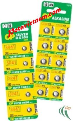 ?nh s? 83: Pin hình tròn - nút, cúc, khuy áo, Pin thông dụng, Pin Alkaline Kiềm, Pin 1.5V, Pin GP 392-2C5 (SR41) - (1 Vỉ/ 5 Viên pin) - Giá: 60.000