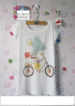 Ảnh số 24: áo thun hình chuột đạp xe - Giá: 50.000
