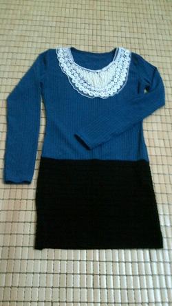 Ảnh số 7: váy len cổ cườm màu xanh - Giá: 175.000