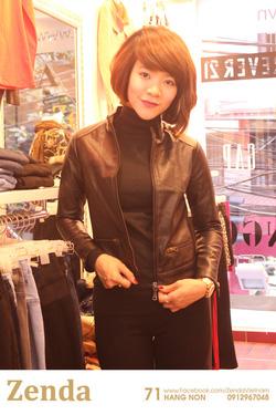 ?nh s? 3: Áo da MNG nữ màu đen dáng đẹp - Giá: 580.000