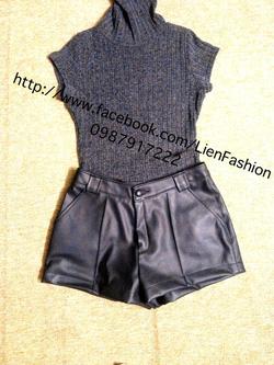 Ảnh số 35: áo len cổ lọ cộc tay màu xám lông chuột, dáng dài ôm sát có thể mặc thành váy body rất sexy giá 140k, Short da xịn 300k - Giá: 140.000