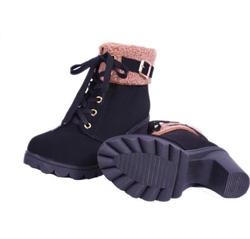 ?nh s? 64: boot cao gót da lộn cổ lông - Giá: 360.000