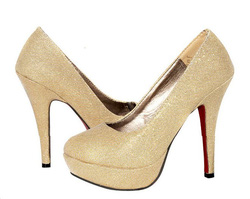 Ảnh số 21: Giày cao gót kim tuyến mũi bầu - Giá: 200.000