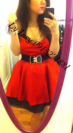 Ảnh số 37: váy xòe đỏ đen - Giá: 900.000