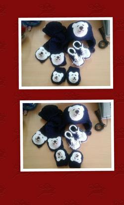 Ảnh số 42: Bộ mũ, khăn, giày, bao tay gấu xanh - Giá: 300.000