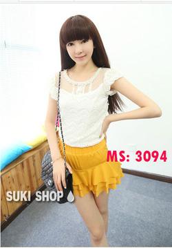 ?nh s? 50: Áo ren ngắn tay màu trắng Mã số:3094 - Giá: 180.000