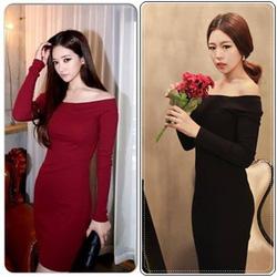 Ảnh số 89: Váy len dài tay trễ vai. Đen đỏ đun. 280k - Giá: 280.000