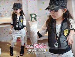 Ảnh số 41: KG25 Áo khoác mỏng đen trắng gắn báo vàng cá tính cho bé gái 10-12-14-16-18cân - Giá: 150.000