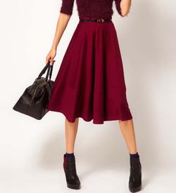 Ảnh số 9: Chân váy xòe dáng midi, dài, màu burgundy, 2 túi hông. Nhận đặt size riêng, bán sỉ bán lẻ - Giá: 300.000