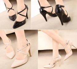 Ảnh số 13: Giày cao gót mũi nhọn 2 dây chéo da bóng loại 8.5cm 330k, loại 10.5cm 370k - Giá: 330.000