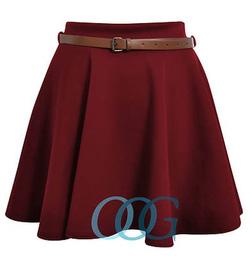 Ảnh số 17: Chân váy xòe màu burgundy, 2 túi hông, 2 lớp, vải sạn, bán sỉ bán lẻ, nhận order size riêng. Hàng thiết kế của Froggy sh - Giá: 225.000
