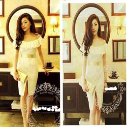 ?nh s? 99: Đầm trắng nhún trễ vai - MD255 - Giá: 160.000