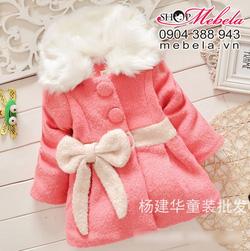 Ảnh số 44: KG50 Áo khoác dạ bé gái cổ lông trang trí nơ xinh xắn lót bông mỏng ở giữa 2 đến 5 tuổi 12-18 cân (cổ áo có thế tháo rời) - Giá: 450.000