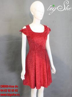 Ảnh số 4: Đầm công sở D8009 Hoa đỏ - Giá: 800.000