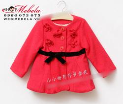 Ảnh số 25: KG57 Áo khoác dạ Zara Kids đỏ gắn hoa cực xinh 3 lớp lót bông mỏng cho bé gái khaỏng 2-7 tuổi - Giá: 430.000
