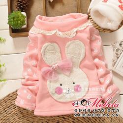 Ảnh số 87: AG507 Áo thỏ đeo nơ má hồng chất thun lót lông cổ 3 phân mềm ấm cho bé 8-10-12-14cân - Giá: 185.000