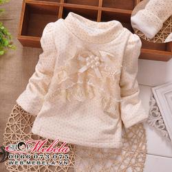 Ảnh số 88: AG509 Áo chấm bi cao cổ lót lông mềm ấm trang trí ren xinh xắn cho bé 8-10-12-14 cân - Giá: 185.000