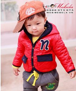 Ảnh số 27: KT32 Áo khoác phao đỏ trần trám chữ N cho bé 9th đến 4 tuổi - Giá: 270.000