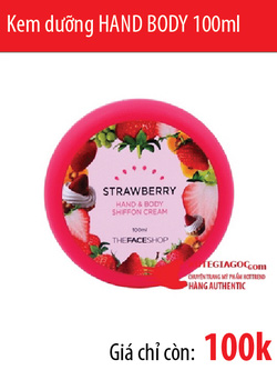 Ảnh số 49: Kem dưỡng Strawberry HAND BODY Shiffon Cream 100ml - Giá: 100.000
