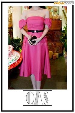 Ảnh số 64: Váy xoè hồng nơ vai - Giá: 450.000