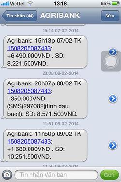 Ảnh số 21: SMS chuyển tiền của khách - Giá: 1.111