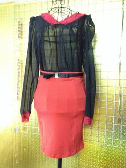 Ảnh số 30: Chân váy bút chì màu đỏ, pha thắt lưng đen ở eo, size M, L - 100k - Giá: 100.000