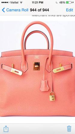 Ảnh số 26: MS TG28: Hermes Birkin 35 crevette peach pink bag gold, da Togo. New 99% đầy đủ hóa đơn, hộp, thẻ. Stamp Q, mua 4/2013 - Giá: 1.000