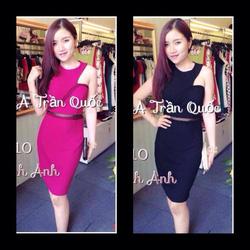 Ảnh số 47: váy ôm body chéo vái ngục pha lưới có màu hồng ,đen giá:290k. - Giá: 290.000