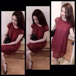 Ảnh số 19: váy ren cộc tay xuông có 2 màu đen ,đỏ .giá:280k - Giá: 280.000
