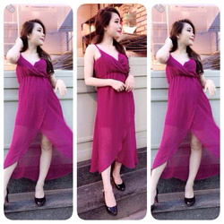 Ảnh số 37: váy maxi voan chéo ngực xẻ đùi có màu đen,hồng tím .giá: 280k - Giá: 280.000