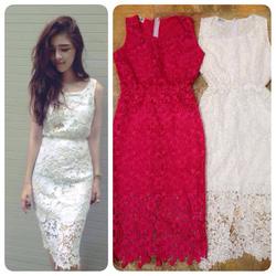 Ảnh số 18: váy ren sát nách ren nổi có màu trắng ,hồng,tím giá:340k - Giá: 340.000