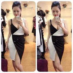 Ảnh số 30: Đầm khoét ngực xẻ đùi đen trắng 330k (s,m) - Giá: 330.000