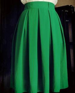 Ảnh số 15: Chân váy midi xanh lá cây, 2 túi hông, 2 lớp - Giá: 300.000