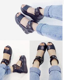 ?nh s? 63: Giày sandals bánh mì quai ngang dây đính kim loại  Giá: 270k - Giá: 270.000