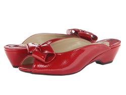 Ảnh số 21: J. Renee size 6.5  Dép sandals da màu đỏ, gắn nơ mũi  Cao 4cm - Giá: 1.200.000