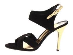 ?nh s? 30: Ivanka size 6  Sandals màu đen , quai chéo  Sau gót có quai cài , gót và quai màu bạc da rắn  Cao 9cm - Giá: 2.300.000
