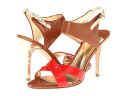 Ảnh số 38: Ivanka size 6  Sandals màu nâu pha cam , quai chéo  Sau gót có quai cài , gót và quai màu bạc da rắn  Cao 9cm - Giá: 2.300.000