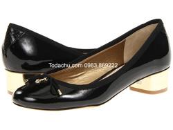?nh s? 46: Sam Edelman size 8.5  Giày pump đế vuông màu đen , mũi giày gắn nơ xinh xắn  Gót và logo màu gold, đế da thật  Cao 3cm - Giá: 1.000