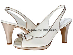 ?nh s? 53: AK Anne Klein size 6  Sandals màu kem , viền da , gắn nơ mũi giày  Cao trước sau , cao 8cm - Giá: 1.000