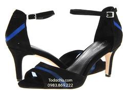 ?nh s? 61: Calvin klein size 6.5, 7.5, 8  Sandals màu đen pha xanh , quai ngang  Cổ chân có quai cài ôm cổ  Cao 7cm - Giá: 2.100.000
