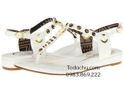 ?nh s? 69: Jessica Simpson size 6  Sandals màu trắng đột đinh màu gold , quai cài sau  Cao 1.5cm - Giá: 1.500.000
