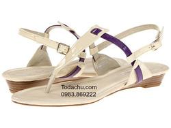 ?nh s? 70: Lumiani International Collection size 5  ( Size 5 màu nude pantent/green, size 7 màu nude pantent purple )  Sandals đế thấp màu nude , quai cài ôm cổ - Giá: 950.000