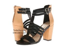 ?nh s? 73: Jessica Simpson size 5  Sandals màu đen , gót bọc màu da , kéo khóa sau  Quai đan cài thời trang, gót cao 8cm - Giá: 1.600.000