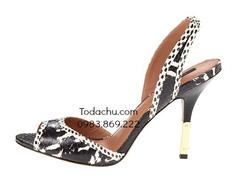 ?nh s? 80: Zoe Alex size 6, 6.5  Sandals da thật da rắn màu đen trắng  Gót bọc thép ko gỉ màu gold sang trọng  Đế da thật, cao 10 cm  Giá gốc $325.00 - Giá: 1.000