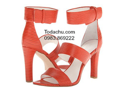 ?nh s? 83: Calvin klein size 6.5  Sandals màu cam da sần, quai ngang  Quai ôm cổ chân , cao 9cm - Giá: 1.000