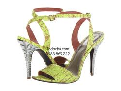 ?nh s? 90: Rachel Roy size 6, 6.5  Sandals màu xanh lá đốm nâu , quai cài cổ chân  Gót bạc khía cạnh lạ mắt  Cao 9cm - Giá: 1.800.000