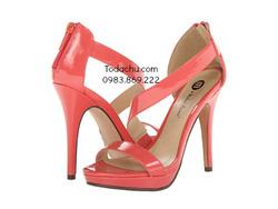 ?nh s? 92: Michael Antonio size 6.5  Sandals màu cam , quai chéo , kéo khóa sau gót  Cao trước sau , cao 11cm - Giá: 1.200.000